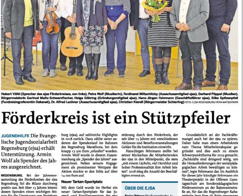 Abbildung eines Zeitungsartikels zur ejsa Regensburg